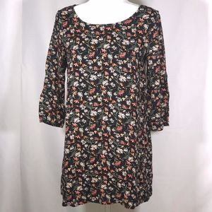 Floral Black Long Sleeve Tunic w/ Criss Cross Back